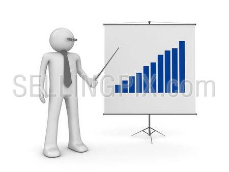 Manager on presentation (3d isolated characters on white background, business series)