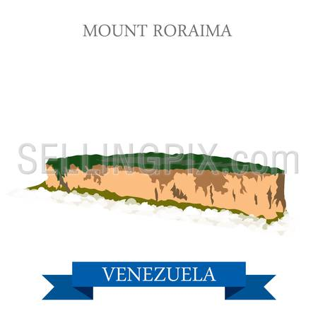 Mount Roraima in Venezuela. Flat cartoon style historic sight showplace attraction web site vector illustration. World countries vacation travel sightseeing South America collection.
