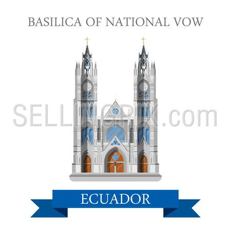 Basilica of National Vow in Ecuador. Flat cartoon style historic sight showplace attraction web site vector illustration. World countries cities vacation travel sightseeing South America collection.