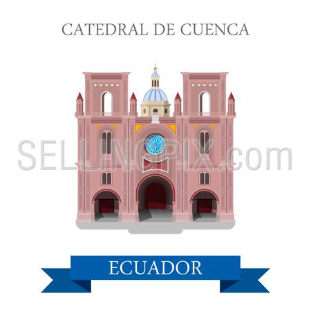 Cathedral de Cuenca in Ecuador. Flat cartoon style historic sight showplace attraction web site vector illustration. World countries cities vacation travel sightseeing South America collection.