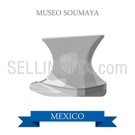 Museo Soumaya in Mexico. Flat cartoon style historic sight showplace attraction web site vector illustration. World countries cities vacation travel sightseeing North America collection.