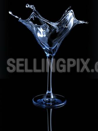 Splashing martini glass (3d isolated on white background objects series)