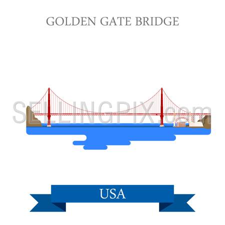 Golden Gate Bridge in San Francisco, United States USA. Flat cartoon style historic sight showplace attraction web vector. World countries cities vacation travel sightseeing North America collection.