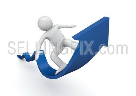 Surfing on a blue arrow of success (3d isolated characters on white background, business and finance series)