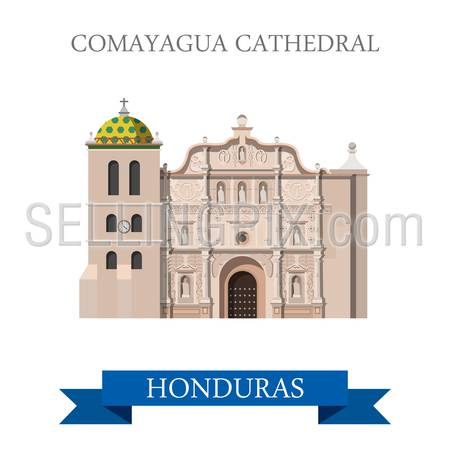Comayagua Cathedral in Honduras. Flat cartoon style historic sight showplace attraction web site vector illustration. World countries cities vacation travel sightseeing Central America collection.