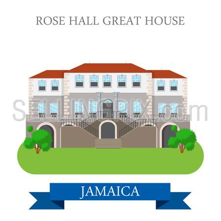 Rose Hall Great House in Jamaica. Flat cartoon style historic sight showplace attraction web site vector. World countries cities vacation travel sightseeing North America Caribbean islands collection.