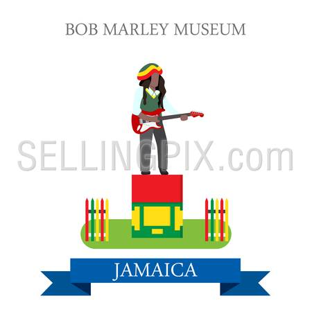 Bob Marley Museum in Jamaica. Flat cartoon style historic sight showplace attraction web site vector. World countries cities vacation travel sightseeing North America Caribbean islands collection.