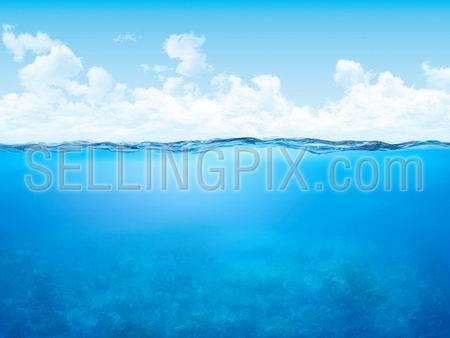 Waterline and underwater background.Water concept. High quality detailed.Copyspace.