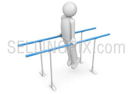 Athlete on the parallel bars (3d isolated on white background characters series)