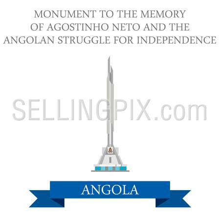 Monument to the Memory of Agostinho Neto and The Angolan Struggle for Independence in Luanda Angola. Flat cartoon style historic sight attraction web site vector illustration. World Africa collection.