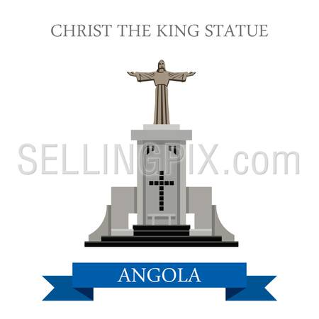 Christ The King Statue in Lubango Angola. Flat cartoon style historic sight showplace attraction web site vector illustration. World countries cities vacation travel sightseeing Africa collection