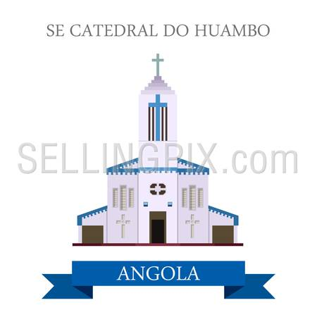 Se Cathedral Do Huambo in Angola. Flat cartoon style historic sight showplace attraction web site vector illustration. World countries cities vacation travel sightseeing Africa collection