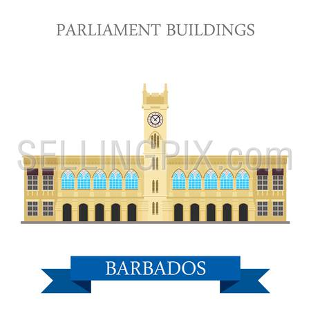 Parliament Buildings in Barbados. Flat cartoon style historic sight attraction web site vector illustration. World country city vacation travel Caribbean islands Central North America collection