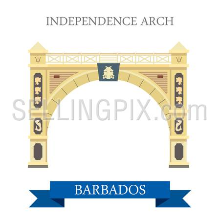 Independence Arch in Barbados. Flat cartoon style historic sight attraction web site vector illustration. World country city vacation travel Caribbean islands Central North America collection