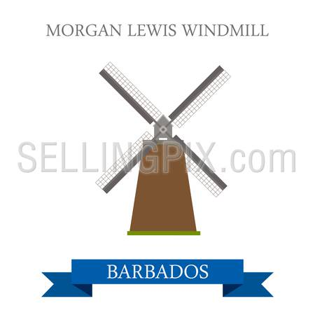 Morgan Lewis Windmill in Barbados. Flat cartoon style historic sight attraction web site vector illustration. World country city vacation travel Caribbean islands Central North America collection