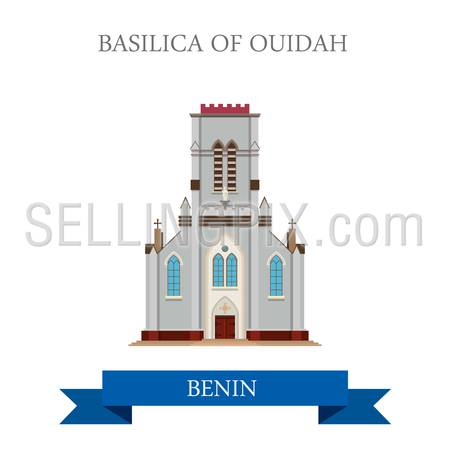 Basilica of Ouidah in Benin. Flat cartoon style historic sight showplace attraction web site vector illustration. World countries cities vacation travel sightseeing Africa collection.