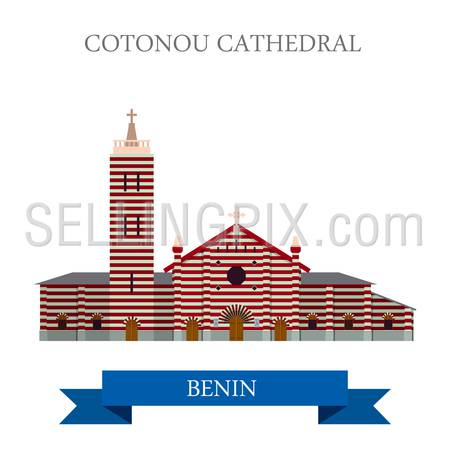 Cotonou Cathedral in Benin. Flat cartoon style historic sight showplace attraction web site vector illustration. World countries cities vacation travel sightseeing Africa collection.