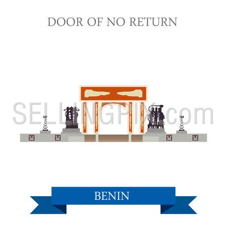 Door of No Return in Benin. Flat cartoon style historic sight showplace attraction web site vector illustration. World countries cities vacation travel sightseeing Africa collection.