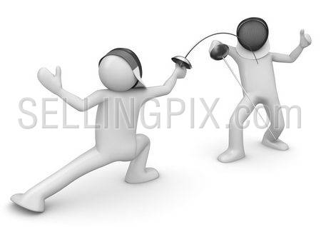 Two fencers (3d isolated on white background characters series)