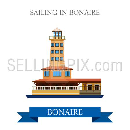 Sailing in Bonaire. Flat cartoon style historic sight showplace attraction web site vector illustration. World countries cities vacation travel Central North America Caribbean islands collection