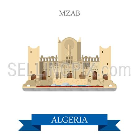 Mzab in Algeria. Flat cartoon style historic sight showplace attraction web site vector illustration. World countries cities vacation travel sightseeing Africa collection.