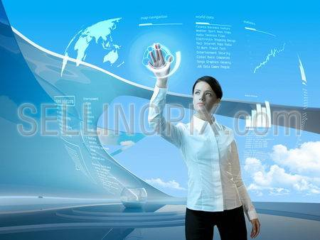 Future technology. Touch button interface. Attractive brunette with interface in futuristic interior  (outstanding business people in interiors / interfaces series)