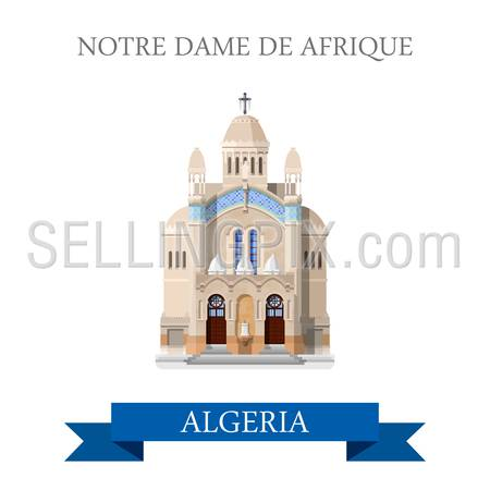 Notre Dame De Afrique in Algeria. Flat cartoon style historic sight showplace attraction web site vector illustration. World countries cities vacation travel sightseeing Africa collection.