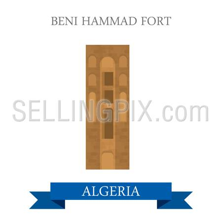 Beni Hammad Fort in Algeria. Flat cartoon style historic sight showplace attraction web site vector illustration. World countries cities vacation travel sightseeing Africa collection.