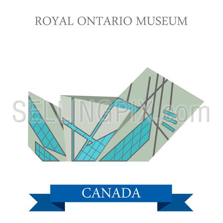 Royal Ontario Museum in Toronto Canada. Flat cartoon style historic sight showplace attraction web site vector illustration. World countries cities vacation travel sightseeing North America collection