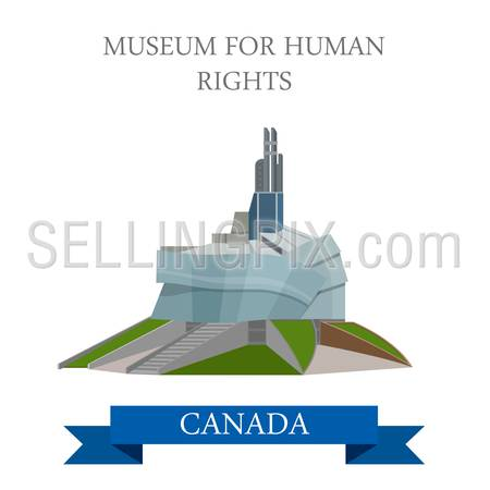 Museum for Human Rights CMHR in Winnipeg Canada. Flat cartoon style historic sight showplace attraction web site vector illustration. World countries cities vacation travel North Amarica collection.