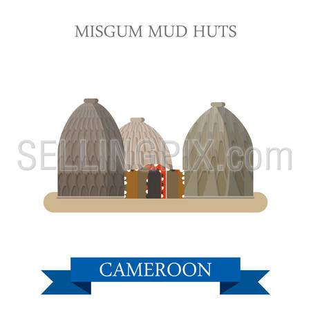Musgum Mud Huts in Cameroon. Flat cartoon style historic sight showplace attraction web site vector illustration. World countries cities vacation travel sightseeing Africa collection.