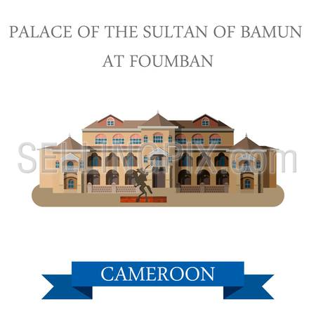 Palace Sultan Bamun in Foumban Cameroon. Flat cartoon style historic sight showplace attraction web site vector illustration. World countries cities vacation travel sightseeing Africa collection.