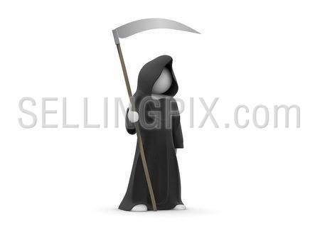 Death with scythe (3d isolated on white background characters series)