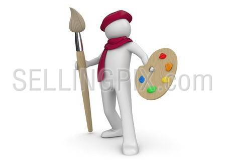 Artist with brush and palette (3d isolated on white background characters series)