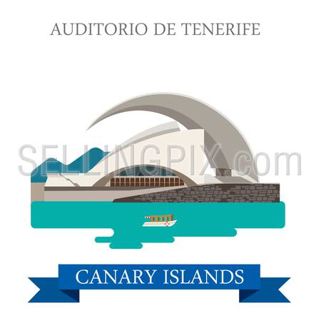 Auditorio de Tenerife in Canary Islands. Flat cartoon style historic sight showplace attraction web site vector illustration. World countries cities vacation travel sightseeing Africa collection.