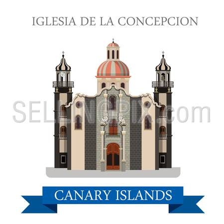 Iglesia de la Concepcion in Canary Islands. Flat cartoon style historic sight showplace attraction web site vector illustration. World countries cities vacation travel sightseeing Africa collection.