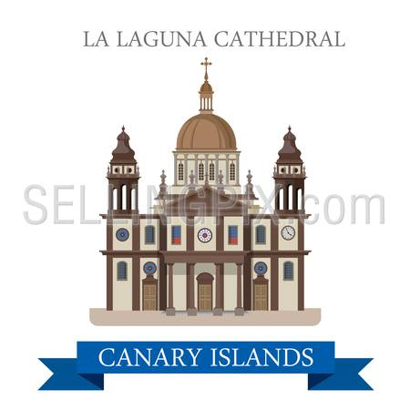 La Laguna Cathedral in Canary Islands. Flat cartoon style historic sight showplace attraction web site vector illustration. World countries cities vacation travel sightseeing Africa collection.