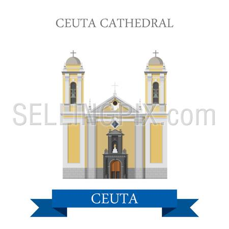 Ceuta Cathedral. Flat cartoon style historic sight showplace attraction web site vector illustration. World countries cities vacation travel sightseeing Africa collection.