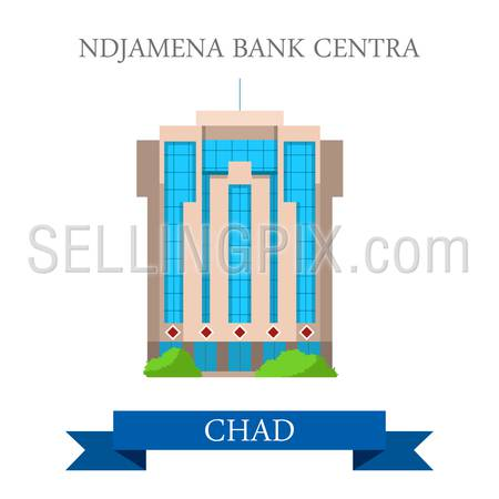 N'Djamena Bank Centra in Chad. Flat cartoon style historic sight showplace attraction web site vector illustration. World countries cities vacation travel sightseeing Africa collection.
