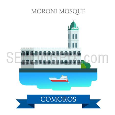 Moroni Mosque in Comoros. Flat cartoon style historic sight showplace attraction web site vector illustration. World countries cities vacation travel sightseeing Africa collection.