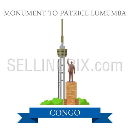 Monument to Patrice Lumumba in Congo. Flat cartoon style historic sight showplace attraction web site vector illustration. World countries cities vacation travel sightseeing Africa collection.
