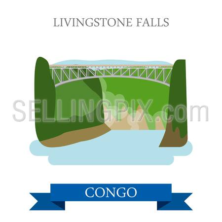 Livingstone Falls in Congo. Flat cartoon style historic sight showplace attraction web site vector illustration. World countries cities vacation travel sightseeing Africa collection.