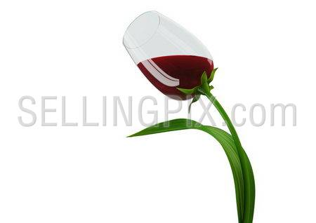 Intoxicating tulip-style wine glass concept (3d isolated on white background objects series)