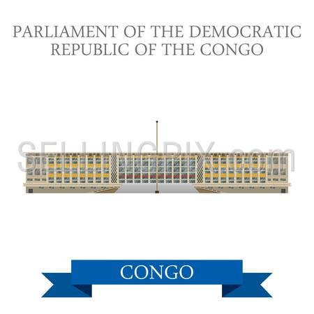 Parliament of Democratic Republic of Congo. Flat cartoon style historic sight showplace attraction web site vector illustration. World countries cities vacation travel sightseeing Africa collection.