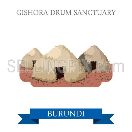 Gishora Drum Sanctuary in Burundi. Flat cartoon style historic sight showplace attraction web site vector illustration. World countries cities vacation travel sightseeing Africa collection.