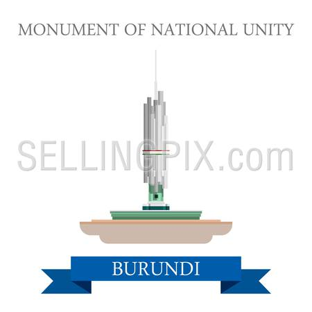 Monument of National Unity in Burundi. Flat cartoon style historic sight showplace attraction web site vector illustration. World countries cities vacation travel sightseeing Africa collection.