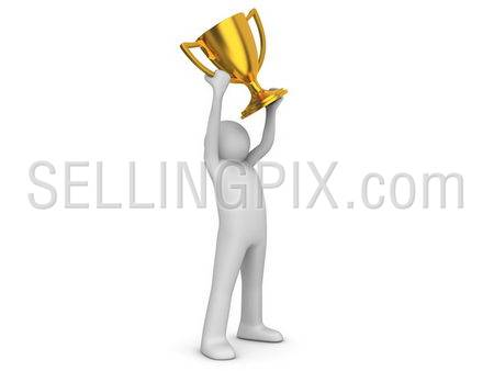Winner holding cup (3d isolated on white background sports characters series)