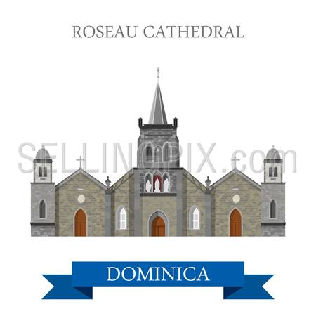 Roseau Cathedral in Dominica. Flat cartoon style historic sight showplace attraction web site vector illustration. World cities vacation travel Caribbean Central America sightseeing collection.