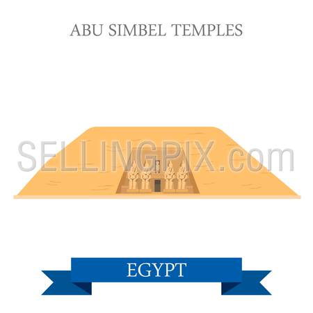 Abu Simbel Temples in Egypt. Flat cartoon style historic sight showplace attraction web site vector illustration. World countries cities vacation travel Africa sightseeing collection.