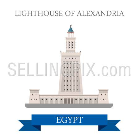 Lighthouse of Alexandria in Egypt. Flat cartoon style historic sight showplace attraction web site vector illustration. World countries cities vacation travel Africa sightseeing collection.